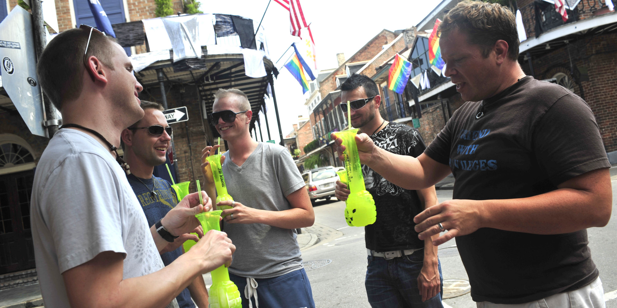 "From left to right, Joshua Bernard, Jason Hunt, Dwight Beckett, Royce Cottrell and Chris Billings, tourists from Oklahoma, drink on Bourbon Street and say they are ""playing it by ear,'' regarding a possible evacuation as Gustav enters the Gulf of Mexico, as the group is seen in New Orleans, Thursday, Aug. 28, 2008. (AP Photo/Cheryl Gerber)"